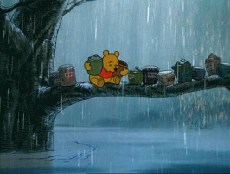 Анимация Медвежонок с банками меда в лапах сидит на ветке под идущим дождем (© zmeiy), добавлено: 05.04.2016 20:35