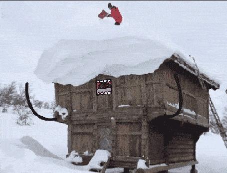 Анимация Дом просит о помощи человека, который очищает его от снега одним ударом лопаты