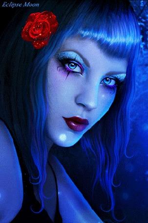 Анимация Фэнтези девушка с синими волосами и розой (Eclipse moon) (© Eclipse Moon), добавлено: 06.04.2016 00:05