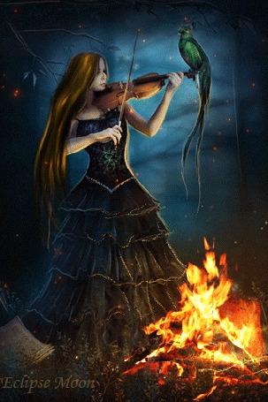 Анимация Девушка в лесу у костра играет на скрипке (Eclipse moon)