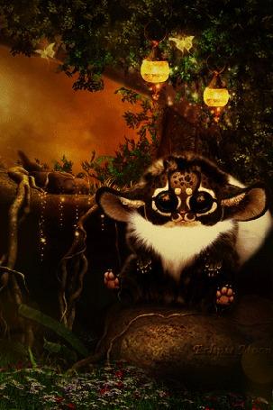 Анимация Фэнтези зверек сидит на камне в волшебном лесу (Eclipse moon)
