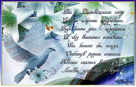 Анимация На фоне библии и цветов лилий летит голубь. На него падают лучи солнца.(Вас с Благовещеньем хочу Сегодня искренне поздравить, Ведь этот день – незаменим, И без внимания оставить Его, конечно же, нельзя, Откинув разные сомненья Желаю счастья вам, друзья, Любви, здоровья и везенья!) (© ДОЛЬКА), добавлено: 06.04.2016 06:26