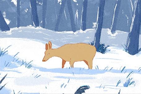 Анимация Олененок на природе зимой (© zmeiy), добавлено: 06.04.2016 18:57