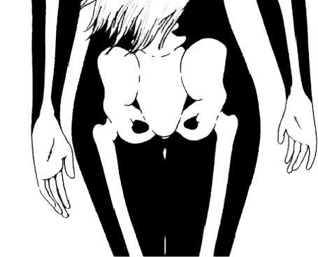 Анимация Нарисованная девушка идет, виляя тазовой костью