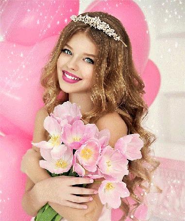 Анимация Девушка с розовыми тюльпанами