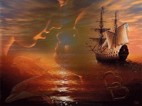 Анимация Влюбленная пара смотрят друг другу в глаза, на фоне заката, плывущего корабля и дельфинов (DX)