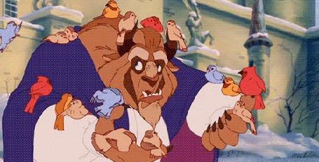 Анимация Заколдованный принц кормит птиц, из мультфильма Красавица и Чудовище / Beauty and the Beast