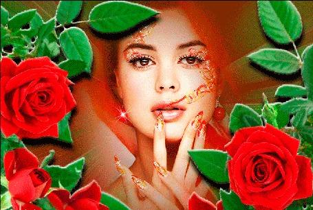 Анимация Девушка в обрамлении красивых красных роз держит руку у лица