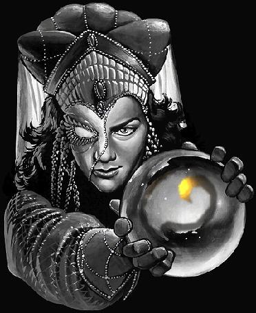 Анимация Одноглазая колдунья с магическим шаром в руках на черном фоне