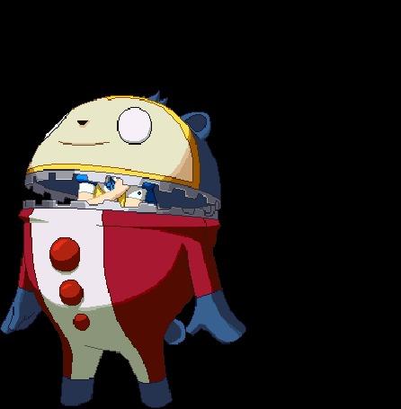 Анимация Из костюма Кумады Тедди / Kumada Teddie вылез Кинтоки Додзи / Kintoki Doji в образе Алисы / Alice из аниме Персона 4: Золотое издание / Persona 4 The Golden Animation