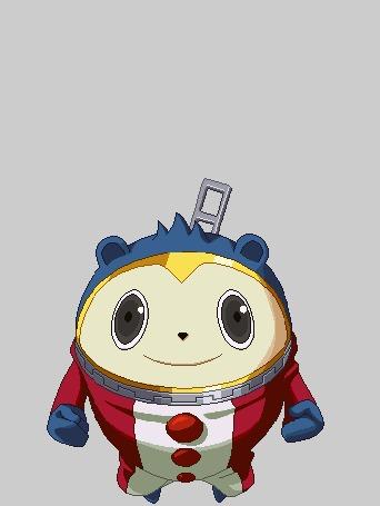 Анимация Из костюма Кумады Тедди / Kumada Teddie вылез Кинтоки Додзи / Kintoki Doji в образе человека из аниме Персона 4: Золотое издание / Persona 4 The Golden Animation