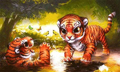 Анимация Тигрята плещутся в воде и играют с порхающими бабочками