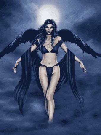 Анимация Девушка - ангел летит над волнующимся морем, в небе светит полная луна