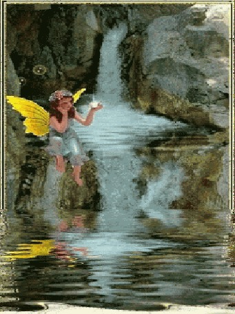 Анимация Маленькая фея сидит у водопада, в руке светится волшебный кристалл