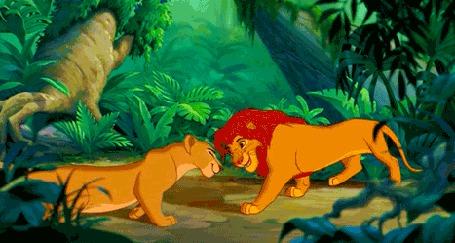 Анимация Симба и Нала встречаются после долгой разлуки, из мультфильма Король Лев / The Lion King
