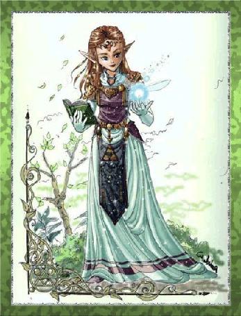 Анимация Девушка эльф в длинном зеленом платье с книгой и магическим шаром в руках