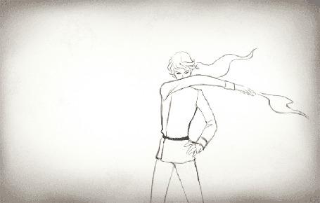 Анимация Девушка переносит огонь над рукой