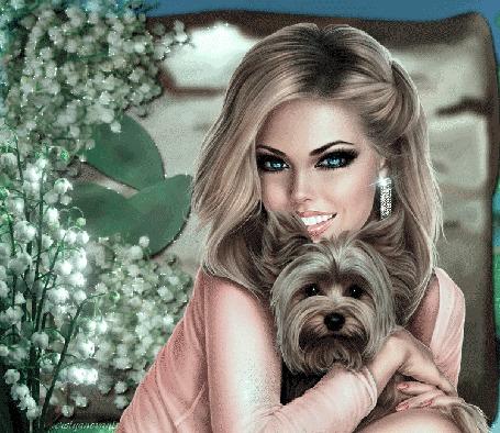 Анимация Девушка со щенком в руках