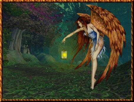 Анимация Девушка - ангел стоит с фонарем в лесу