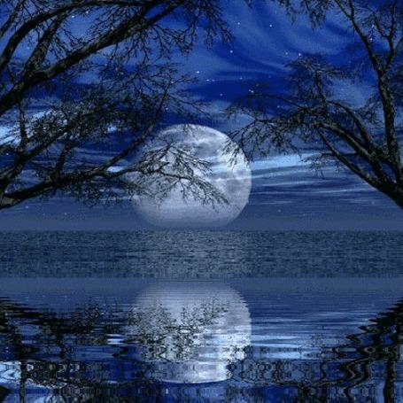 Анимация Отражение полной луны в воде (© elenaiks), добавлено: 15.04.2016 19:46