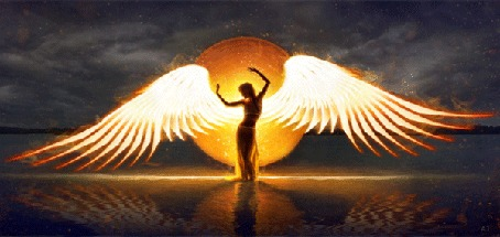 Анимация Девушка - ангел стоит в воде на фоне огненного диска