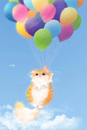 Анимация Рыжий котенок летит на воздушных шариках