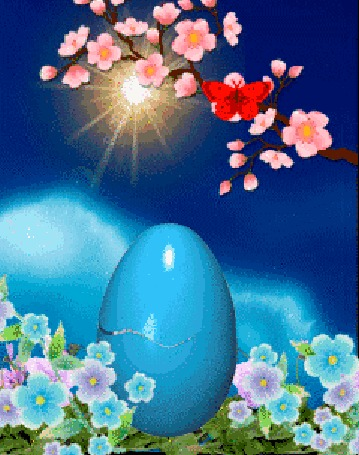 Анимация Из пасхального яйца выглядывает кролик
