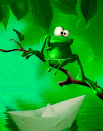 Анимация Лягушка сидит на ветке, внизу по воде плывет бумажный кораблик