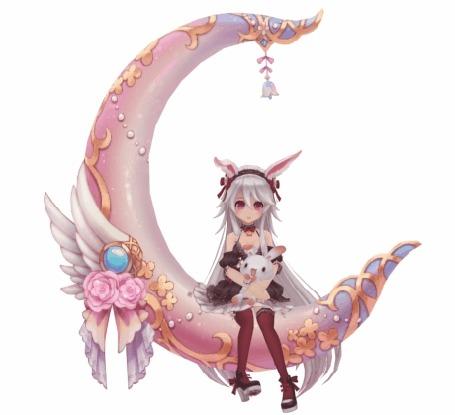 Анимация Белокурая девушка с кроличьими ушками обнимает кролика раскачиваясь на розовом полумесяце с украшенными розовыми розами и белыми крыльями с голубым камнем