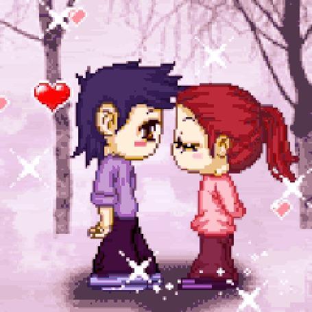 Анимация Девушка с парнем на катке, из под коньков летят искры, а в воздухе носится любовь (I love!)