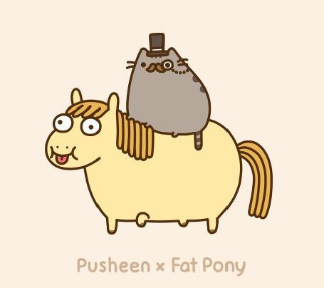 Анимация Серый кот в шляпе скачет на лошади (Pusheen x Fat Pony)