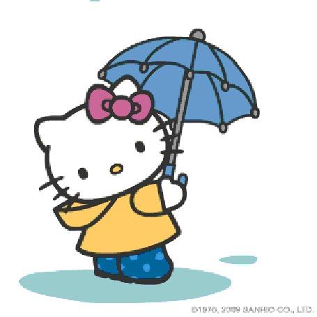 Анимация Кошечка с бантиком с зонтиком стоит под дождем