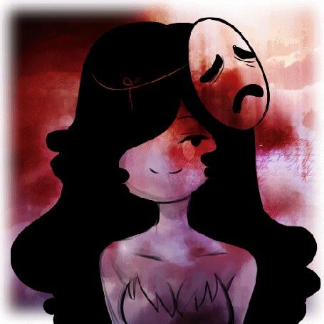 Анимация Темноволосая девушка - призрак на красном фоне, by KuroiiFox