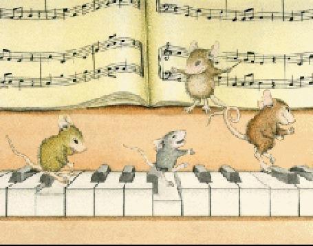 Анимация Мышь стоит у нотной тетради в роли дирижера, другие мыши прыгают по клавишам рояля (© elenaiks), добавлено: 23.04.2016 07:59