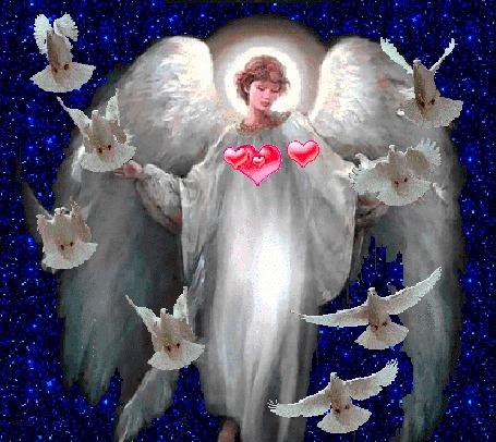 Анимация Девушка ангел с сердечками и белыми голубями (© elenaiks), добавлено: 23.04.2016 09:54