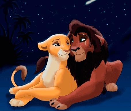 Анимация Киара и Кову сидят под звездным небом, мультфильм Король Лев, 1994