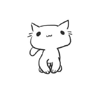 Анимация Нарисованная кошка машет хвостом и перебирает лапками