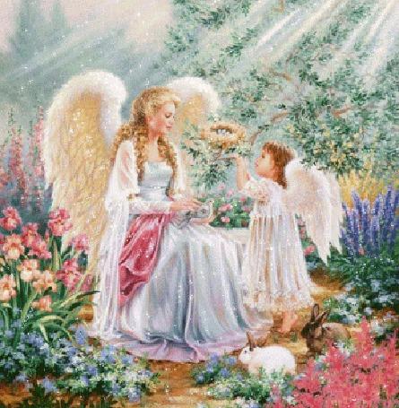 Анимация Девушка фея с белыми крыльями, девочка с крыльями ангела подает ей венок из цветов