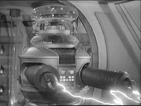 Анимация Допотопный робот В - 9 ведет стрельбу с двух рук, персонаж в телесериале Затерянные в космосе