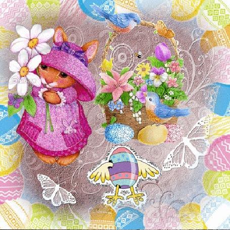 Анимация Кролик держит в лапках букет цветов, справа корзинас цветами и яйцами, бабочки