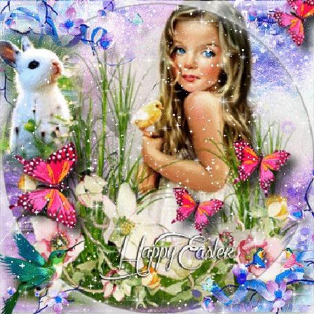 Анимация Девочка на природе, слева кролик и птица, вокруг бабочки и цветы, блестки