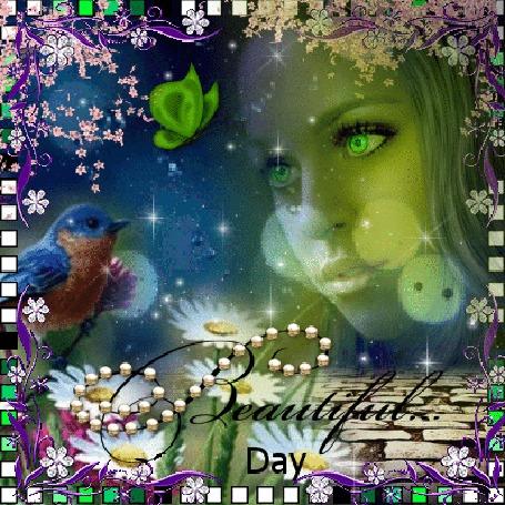 Анимация Лицо девушки на фоне природы, вокруг цветы, слева птица и бабочка (Beautiful day / Красивый день)