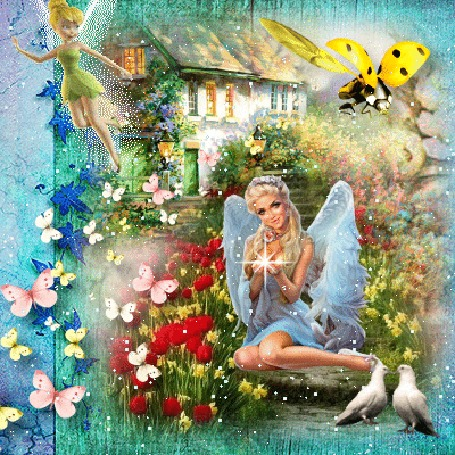 Анимация Ангел сидит на ступеньках возле дома на фоне природы, в ладошках мерцает звезда, слева летает эльф, справа божья коровка, голуби