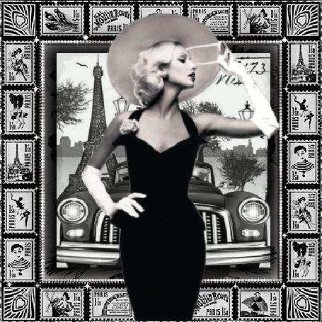 Анимация Девушка блондинка в шляпе и черном платье на фоне города Париж