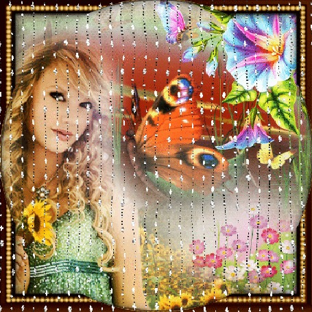Анимация Девушка блондинка на фоне цветов смотрит за переливающейся вуалью