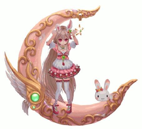Анимация Светловолосая девушка с кроличьими ушками танцует на месте делая круг с игрушкой кроликом на розовом полумесяце украшенным крыльями и зеленым камнем