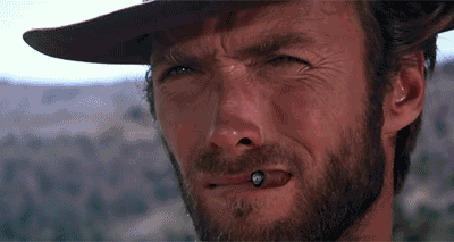 Анимация Кадры из фильма The Good, the Bad and the Ugly / Хороший, плохой, злой, где ковбои переглядываются суровыми взглядами, и с ними - не менее суровый кот