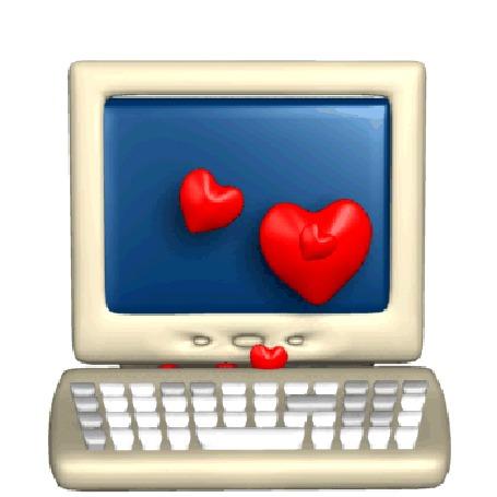 Анимация Белый компьютер с клавиатурой из которой вылетают яркие красные сердечки (© elenaiks), добавлено: 29.04.2016 12:09