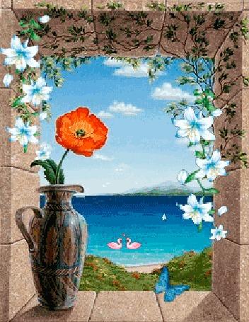 Анимация Цветок мака стоящий на подоконнике в кувшине в обрамлении цветов, в окно виднеется озеро, с плавающими белыми лебедями