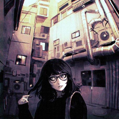Анимация Процесс рисования девушки, которая стоит на фоне города, by Kuvshinov Ilya